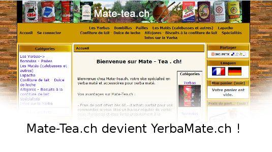 Mate-Tea.ch a été remplacé par un nouveau site internet